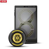 Smartphone s závodní kola a sledovat na obrazovce. — Stock vektor
