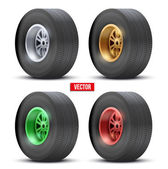 Set of sports car colorful wheels. Vector illustration — Stock Vector