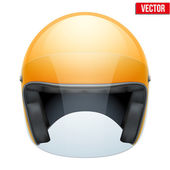 Orange motorbike classic helmet with clear glass visor. Vector. — Stock Vector