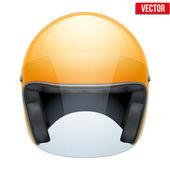 Orange motorbike classic helmet with clear glass visor. Vector. — Stock Vector