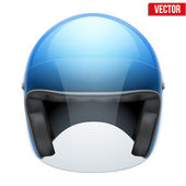 Blue motorbike classic helmet with clear glass visor. Vector. — Stock Vector