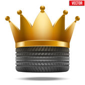 Realistic rubber tire with a golden crown — Stock Vector