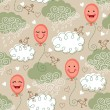 Vector de stock : Seamless pattern with balloons and clouds