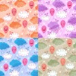 Seamless patterns with balloons and clouds — Stock Vector #16038877