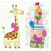 Cute Giraffe with a lot of gifts — Stock Vector