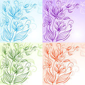Set of decorative floral backgrounds — Stock Vector
