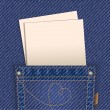 Jeans pocket with blank paper — Stock vektor