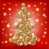 Mechanical Christmas tree — Stock Vector