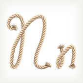 Rope alphabet. Letter N — Stock Vector