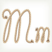 Rope alphabet. Letter M — Stock Vector