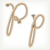 Rope alphabet. Letter P — Vector de stock