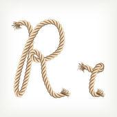 Rope alphabet. Letter R — Stock Vector