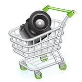 Shopping cart with camera — Stock Vector