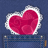 Cute valentine card in jeans pocket — Stock Vector
