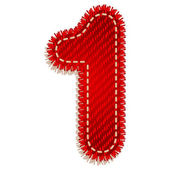 Digit from red textile alphabet — Stock Vector