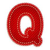 Red textile alphabet — Stock Vector