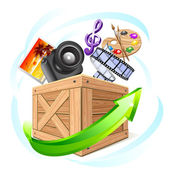 Box with multimedia content — Stock Vector