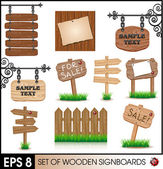 Set of vintage wooden sigboards — Stock Vector
