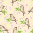 Royalty-Free Stock Vector Image: Seamless pattern with sparrows