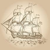 Vintage sailboat — Stock Vector