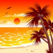 Tropical sunset - Stock Vector