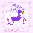 Stock Vector: Christmas card with deer