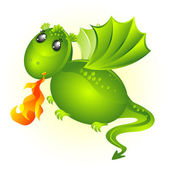 Cute green dragon — Stock Vector