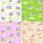 Seamless patterns with sheeps — Stock Vector