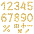 Golden chained digits — Stock Vector