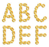 Golden chained alphabet — Stock Vector
