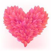 Beautiful heart made from pink petals — Stock Vector