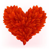 Beautiful heart made from red petals — Stockvector