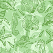 Sea hand drawn seamless pattern — Stock Vector