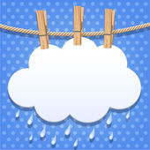 White paper cloud on a clothesline — Stock Vector