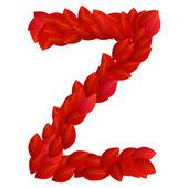 Bokstaven z i röda kronblad alfabetet — Stockvektor