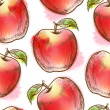 Seamless pattern with red apple - Imagen vectorial