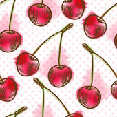 Seamless pattern with cherry — Stock Vector