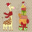 Cute happy Giraffe with a red scarf. — Vektorgrafik