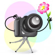 Cute cartoon camerwith flower — Stock Vector #29416295