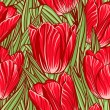 Seamless pattern with tulips — Stock Vector