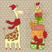 Cute happy Giraffe with a red scarf. — Stock Vector