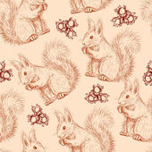 Seamless pattern with squirrels and nuts — Stock Vector