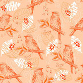 Vintage seamless pattern with sparrows — Stock Vector