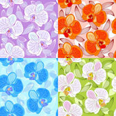 Seamless floral pattern with orchids — Stock Vector