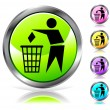 Glossy recycling sign button — Stock Vector