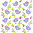 Pattern with cute birds — Stockvectorbeeld