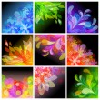 Set of 9 abstract floral backgrounds — Stock Vector