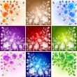 Set of floral backgrounds — Stock Vector