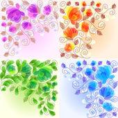 Conjunto de fondos florales — Vector de stock