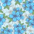 Seamless pattern with blue flowers — Stock Vector #33313383